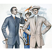 1913 Men's Suits Salesman's Catalog Sample Page Advertising Downton Abbey