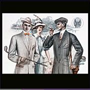 Old Advertising 1913 Salesman's Catalog Page Golfing Edwardian Men's Clothing