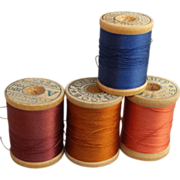 SOLD Antique Silk Thread on Wooden Spools Lot of 4 Doll Clothes Restoration