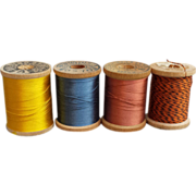 SOLD Antique Silk Thread on Wooden Spools Lot of 4