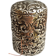 SOLD Antique Gorham Sterling Thread Holder Box Repousse 17.3 Grams Silver