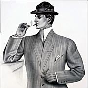 Huge Antique Print Man in with Suit Cigarette Matchsafe Salesman Sample 1913