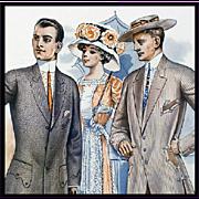 Men's Antique Suits 1913 Print Catalog Page Salesman Sample Book
