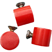 SOLD 1930s Vintage Red Bakelite Knobs Vanity Boxes Kitchen Pot Lids