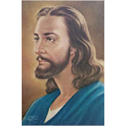 1950s Clarence Thorpe Print of Jesus Christ Religious Image 1955
