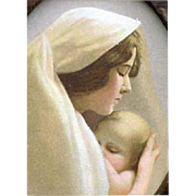 Antique Louis Prang Madonna and Baby Jesus Partridge Religious Print