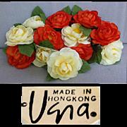 12 Vera Neumann Napkin Rings Wild Roses Vintage 1970s MIB