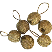 SALE Six Gold Bullion Antique Buttons or Dress Accent Baubles Doll Size Sewing Notions