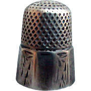 SALE Old Sterling Silver Thimble Size 9 Simmons Etched Decoration Engraved