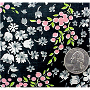 Vintage Cotton Sewing Fabric 1920s - 1930s Small Pink Gray Flowers on Black