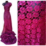 SOLD Vintage Fancy Lace Sewing Fabric Burgundy Lace Roses All Over