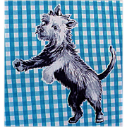 SOLD 1950s - 1960s Sky Terrier Dog Puppy Apron Fabric Aprinette