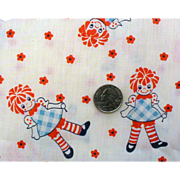 SOLD Vintage 1970s Baby Novelty Cotton Fabric Raggedy Ann Doll Children's Material - Red Tag S