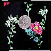 4 + yards Vintage Cotton Quilt Fabric  Black Background Wild Roses Mint