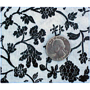 SOLD Vintage Cotton Sewing Fabric Black on White Floral 4 yards Mint