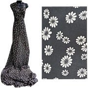 SOLD 1960s Semi-Sheer Cotton Voile Sewing Fabric 3 + yards Charcoal with Daisies