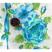 SOLD 1960s Crisp Cotton Vintage Sewing Fabric 4 yards Blue Roses