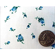 Vintage 1950s - 1960s Cotton Sewing Fabric Little Blue Rose Buds on White