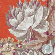 Vintage Cotton Floral Curtain Panel Rust and Mauve Material