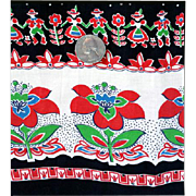 1940s Vintage Cotton Sewing Fabric Bohemian Border Print 3-1/2 Yards