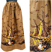 SOLD 1950s Vintage Sewing Fabric Border Print Cotton Skirt Length