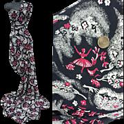 1940s Spun Rayon Sewing Fabric Black Rose White 3-1/2 yards
