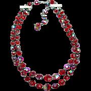 SALE 1960s Swarovski Red Crystal Necklace Double Strand