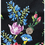 SALE Vintage Cotton Sewing Fabric 3 Yards Beautiful Floral on Black Drapes Upholstery