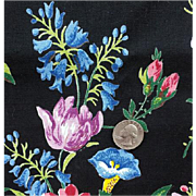SALE Dramatic Black Floral Upholstery Fabric Vintage Cotton Sewing Material 5-3/4 Yards
