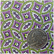 Vintage Cotton Percale Sewing Fabric 1930s - 1940s Small Scale Purple Green Quilts Aprons