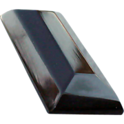 SALE Midnight Black Bakelite Bar Brooch Dramatic Art Deco Carved
