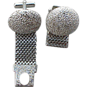 SALE Mid Century Silver Tone Wrap Cuff Links Vintake  Diamond Finish