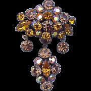 SALE Girandole Rhinestone Brooch with Dangling Crystals