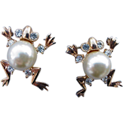 SALE Scatter Pins Pearly Frog Brooches Fat Faux Pearl Belly Rhinestones