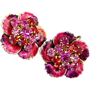 SALE PENDING Gorgeous Vintage Earrings Fuchsia Red Purple Rhinestones Enameling