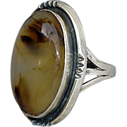 SALE Agate and Sterling Silver Ring Medieval Style Domed Stone Size 5-3/4