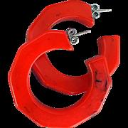SALE Lipstick Red and Black Bakelite Pierced Hoop Earrings