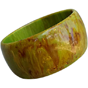 Extra Wide Bakelite Bangle Bracelet End Of Day Green Brown Yellow