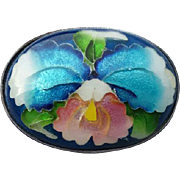 SALE Exquisite Japanese Orchid Ando Cloisonne Brooch Enamel Over Silver
