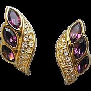 SALE Stunning Swarovski Pierced Earrings Purple Cut Crystals