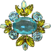SALE Large Vintage Juliana Rhinestone Brooch or Pendant Aquamarine Blue Light Olive