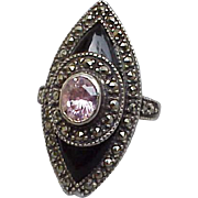 SALE Sterling Silver Onyx and Marcasite Ring Pink Cubic Zircon October Size 7-1/2