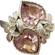 SALE Vintage Sarah Coventry Birthstone Ring Heart Shaped Rhinestones Pink October