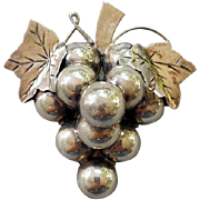 SALE Sterling Silver Brooch Cluster of Grapes Large Heavy 25.5 Grams .925