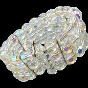 SALE 1960s Cut Crystal Stretch Bracelet Aurora Borealis Wedding Wear