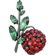 SALE Vintage Schreiner Large Cherry Brooch Fruity Yum Yum Minty