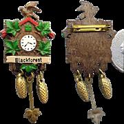 SALE Miniature Black Forest Cuckoo Clock Brooch Doll House Fun