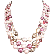 SALE 1960s Pink Necklace Faceted Glass Crystals Art Beads