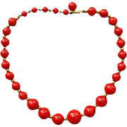 Vintage Red Bakelite Necklace Slightly Swirled Beads