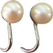SALE Sophisticated Real Pearl Earrings in Sterling Silver Winard 1960s